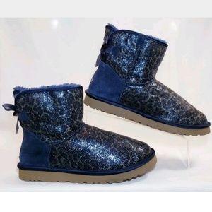 Rare! UGG Boots, Glitter Blue Leopard, Size 7